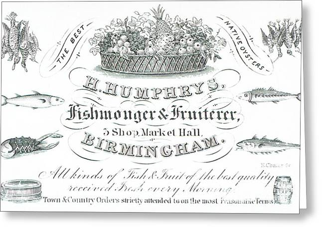 H Humphrys, Fishmonger And Fruiterer, Trade Card  Greeting Card