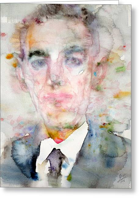 H. P. Lovecraft - Watercolor Portrait.3 Greeting Card by Fabrizio Cassetta