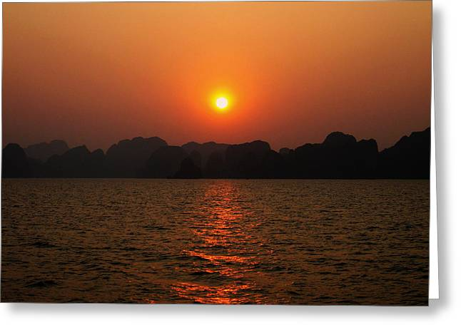 Ha Long Bay Sunset 2 Greeting Card by Oliver Johnston