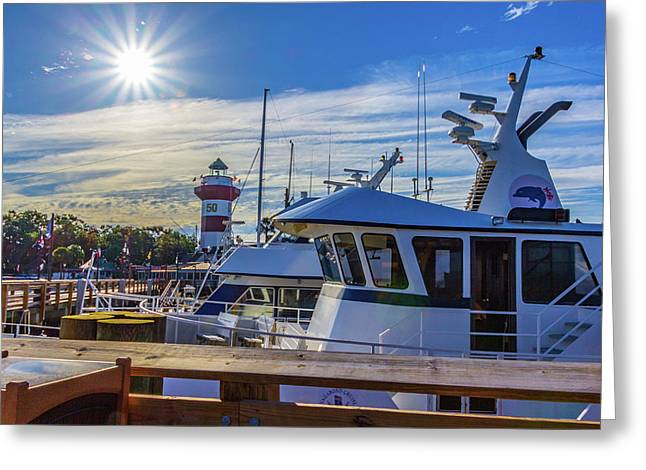 Greeting Card featuring the photograph Habour Town Lighthouse And Marina by Randy Bayne