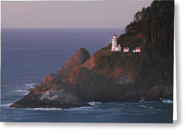 Haceta Head Lighthouse At Sunset Greeting Card