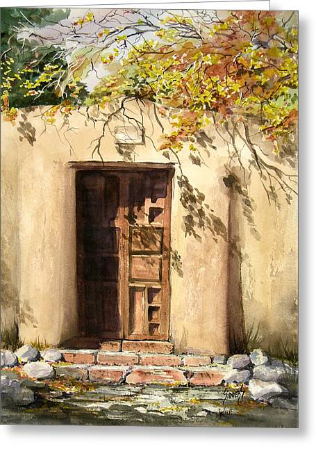 Hacienda Gate Greeting Card by Sam Sidders