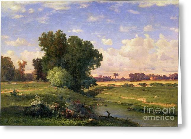 Evening Lights Paintings Greeting Cards - Hackensack Meadows - Sunset Greeting Card by George Snr Inness