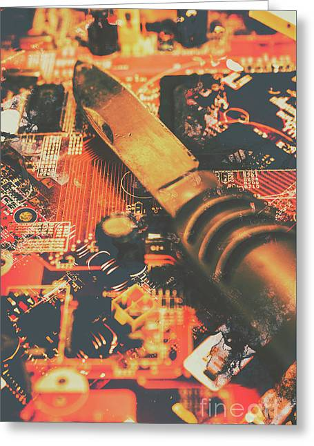 Hacking Knife On Circuit Board Greeting Card by Jorgo Photography - Wall Art Gallery