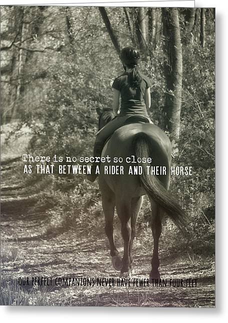 Greeting Card featuring the photograph Hacking Quote by Dressage Design