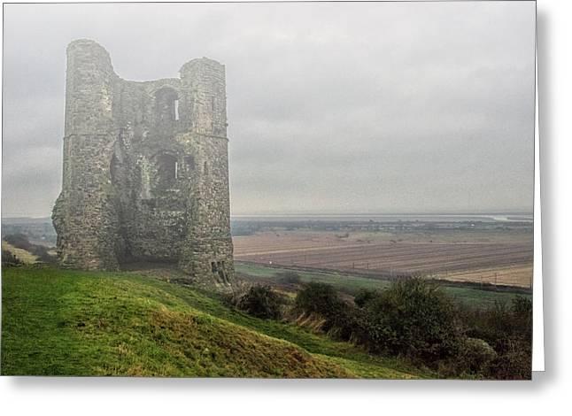 Hadleigh Castle Fog Greeting Card by Martin Newman