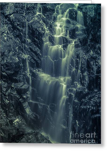 Hadlock Falls In Acadia National Park - Monochrome Greeting Card