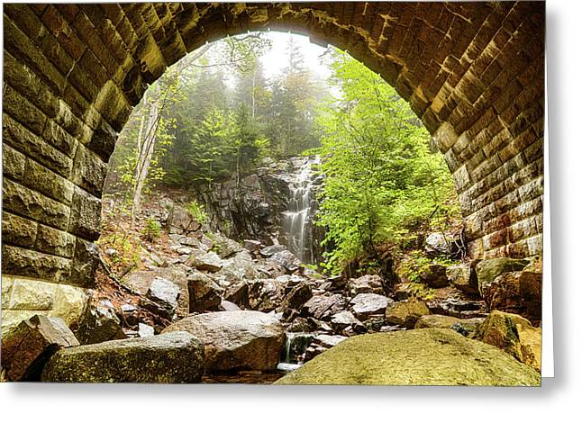 Greeting Card featuring the photograph Hadlock Falls Under Carriage Road Arch by Jeff Folger
