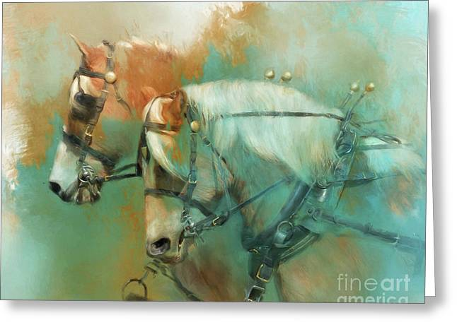 Haflinger Team Greeting Card by Kathy Russell