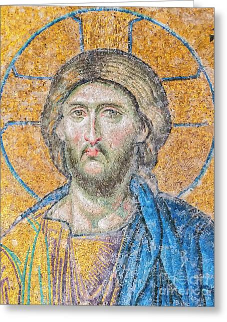 Hagia Sofia Jesus Mosaic Digital Painting Greeting Card