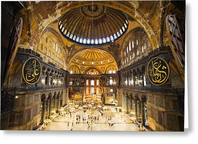 Aya Sofia Greeting Cards - Hagia Sophia Interior Greeting Card by Artur Bogacki