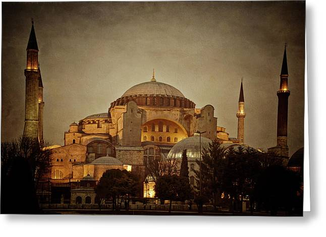 Hagia Sophia Istanbul Turkey Night Greeting Card