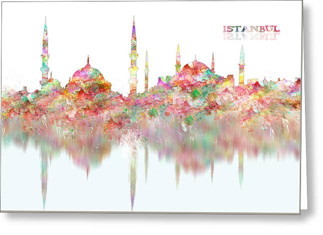 Hagia Sophia Istanbul Watercolor Painting Greeting Card by Georgeta Blanaru