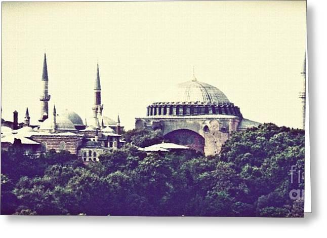 Hagia Sophia Panorama Greeting Card by Sarah Loft