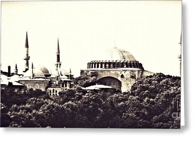 Hagia Sophia Panorama Sepia Greeting Card by Sarah Loft