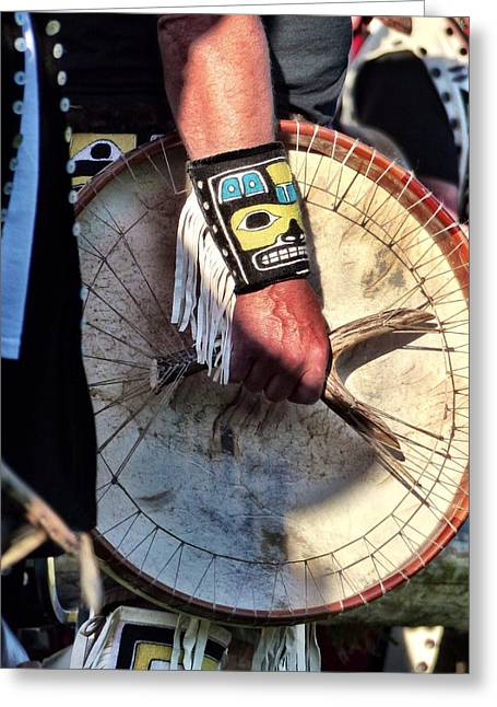Greeting Card featuring the photograph Haida Drum by Rand