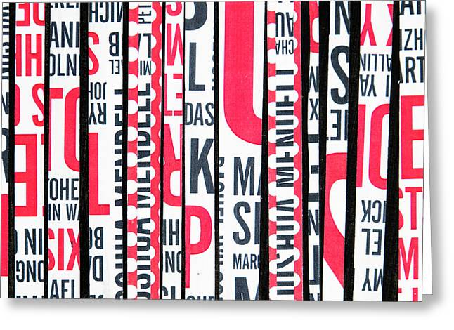 Greeting Card featuring the mixed media Haiku In Red And Black by Elena Nosyreva
