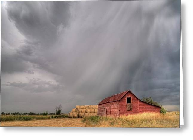 Hail Shaft And Montana Barn Greeting Card