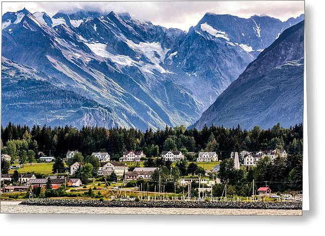 Haines, Alaska Surrounded In Mountains Greeting Card