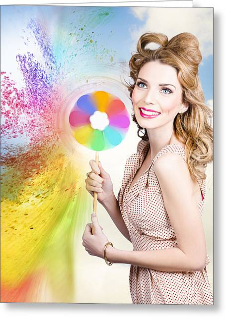 Hair And Makeup Coloring Concept Greeting Card