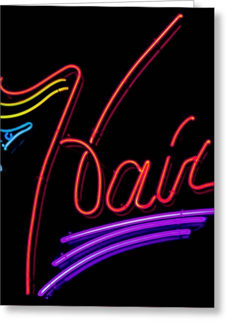 Hair In Neon Greeting Card