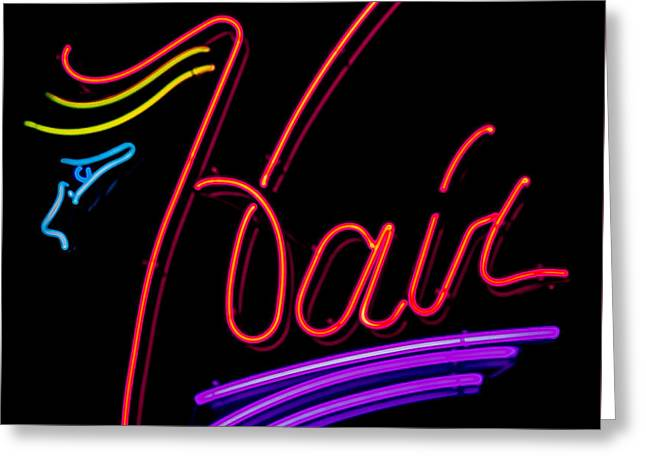 Hair In Neon Greeting Card