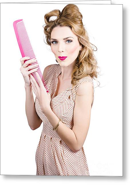 Hair Style Model. Pinup Girl With Large Pink Comb Greeting Card by Jorgo Photography - Wall Art Gallery