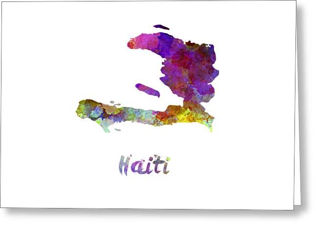 Haiti In Watercolor Greeting Card by Pablo Romero