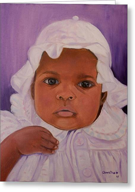 Greeting Card featuring the painting Haitian Baby Orphan by Quwatha Valentine