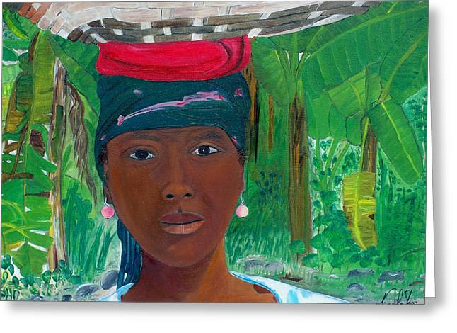 Haitian Woman   2 Greeting Card by Nicole Jean-Louis