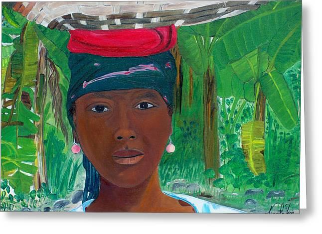 Nicole Jean-louis Greeting Cards - Haitian Woman   2 Greeting Card by Nicole Jean-Louis