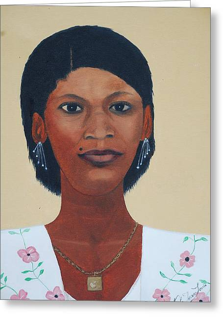 Greeting Card featuring the painting Haitian Woman Portrait by Nicole Jean-Louis