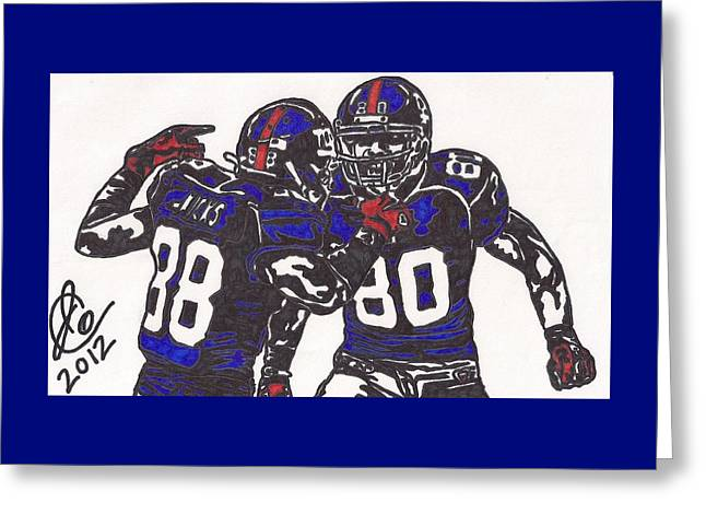 Hakeem Nicks And Victor Cruz Greeting Card by Jeremiah Colley