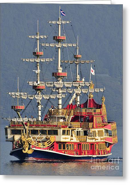 Hakone Sightseeing Cruise Ship Sailing On Lake Ashi Hakone Japan Greeting Card by Andy Smy