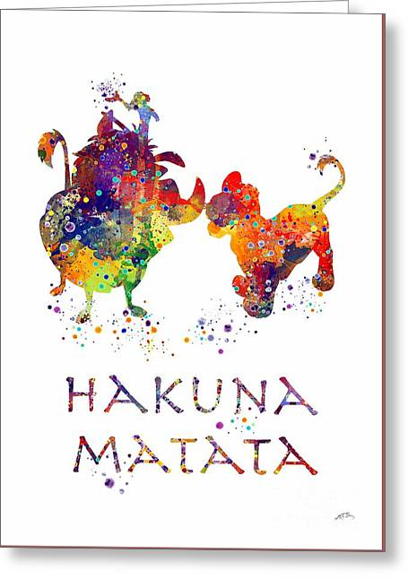 Hakuna Matata Watercolor Art Print  Greeting Card by Svetla Tancheva