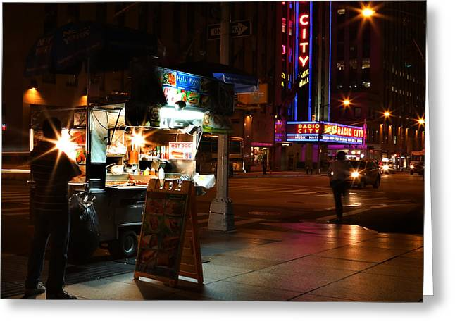 Halal Vendor At Radio City Music Hall Greeting Card by Lee Dos Santos