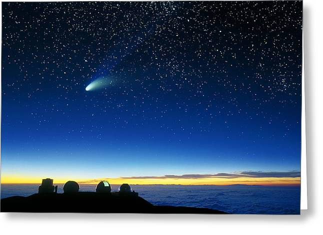 Hale-bopp Comet And Telescope Domes Greeting Card by David Nunuk