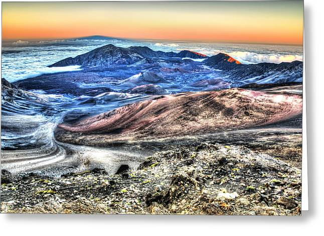 Greeting Card featuring the photograph Haleakala Crater Sunset Maui by Shawn Everhart