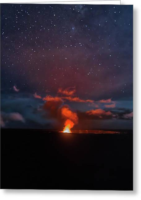 Greeting Card featuring the photograph Halemaumau Crater At Night by Susan Rissi Tregoning