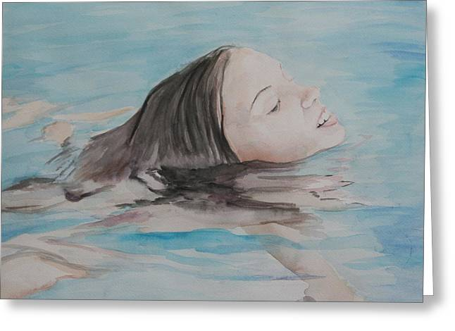 Haley In The Pool Greeting Card by Charlotte Yealey