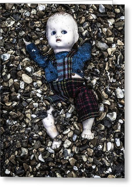 Half Buried Doll Greeting Card