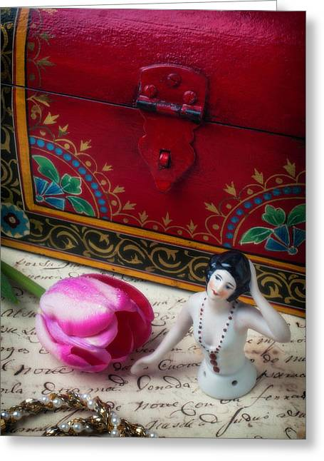 Half Doll With Red Chest Greeting Card by Garry Gay