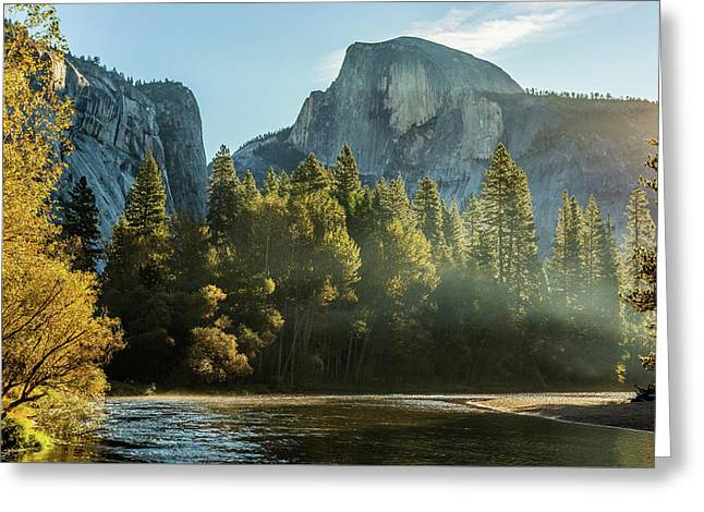 Half Dome And Merced River Autumn Sunrise Greeting Card