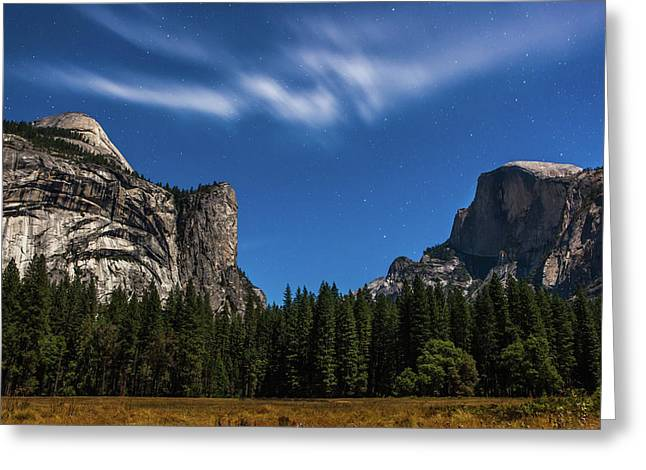 Half Dome And Moonlight - Yosemite Greeting Card