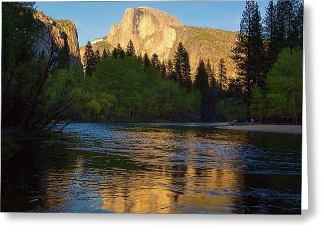 Half Dome And The Merced River With The Moon Greeting Card