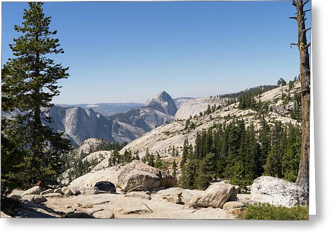 Half Dome And Yosemite Valley From Olmsted Point Tioga Pass Yosemite California Dsc04245 Greeting Card by Wingsdomain Art and Photography