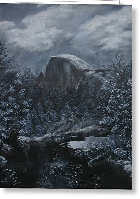 Half Dome Black And White  Greeting Card by Travis Day