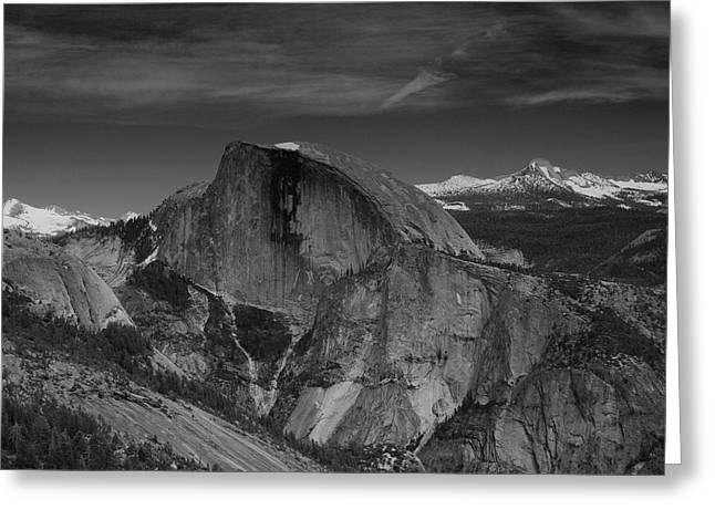 Half Dome From Columbia Rock In Black And White Greeting Card by Raymond Salani III