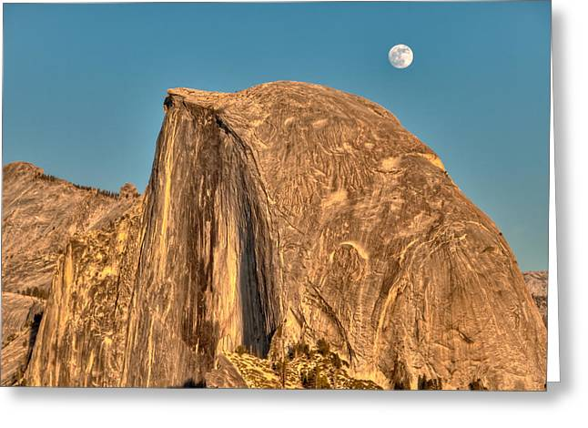 Moonrise Greeting Cards - Half Dome Full Moon Rising Greeting Card by Connie Cooper-Edwards