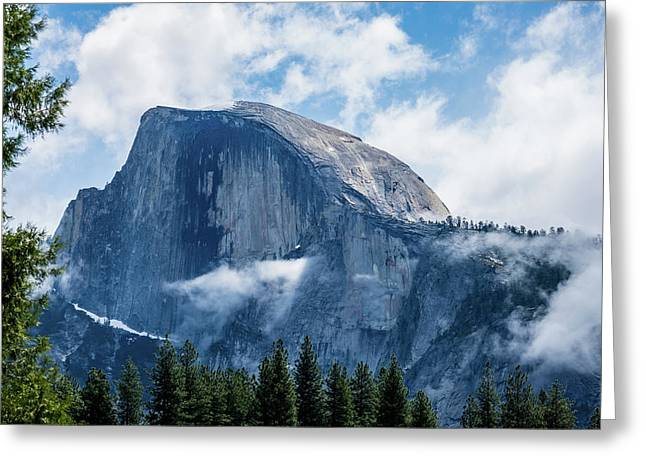 Half Dome In The Clouds Greeting Card